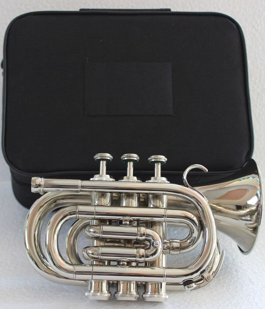 OSWAL Bb Flat Silver Nickel Pocket Trumpet W/Free Case+Mouthpiece by OSWAL