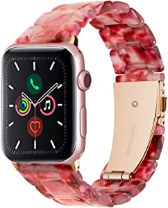 38/40 mm Light Peach Women Resin Band Compatible with Apple Watch SE 6/5/4/3/2/1 with Stainless Steel Buckle, Series 6 SE iWatch Replacement Strap