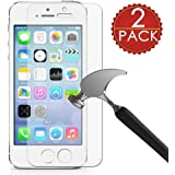 [2 pack] iPhone 5/5S/SE Screen Protector, KAMII [Tempered Glass] Ultra Thin HD Clear 9H Hardness [Anti-Scratch] [Bubble Free] Shockproof Clear Screen Protector for Apple iPhone 5/5S/SE (5S 2Pc)
