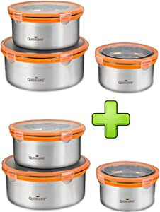 Queensense Erica Stainless steel Food Airtight Container 6 Pcs Freezer containers 1L 1.7L 2.7L 2Set