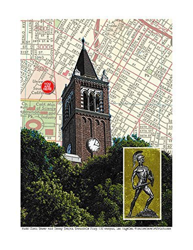(USC Los Angeles Mudd Clock Tower and Tommy Trojan. University of Southern California. fine art print. YOU ARE HERE, original map print, 8.5