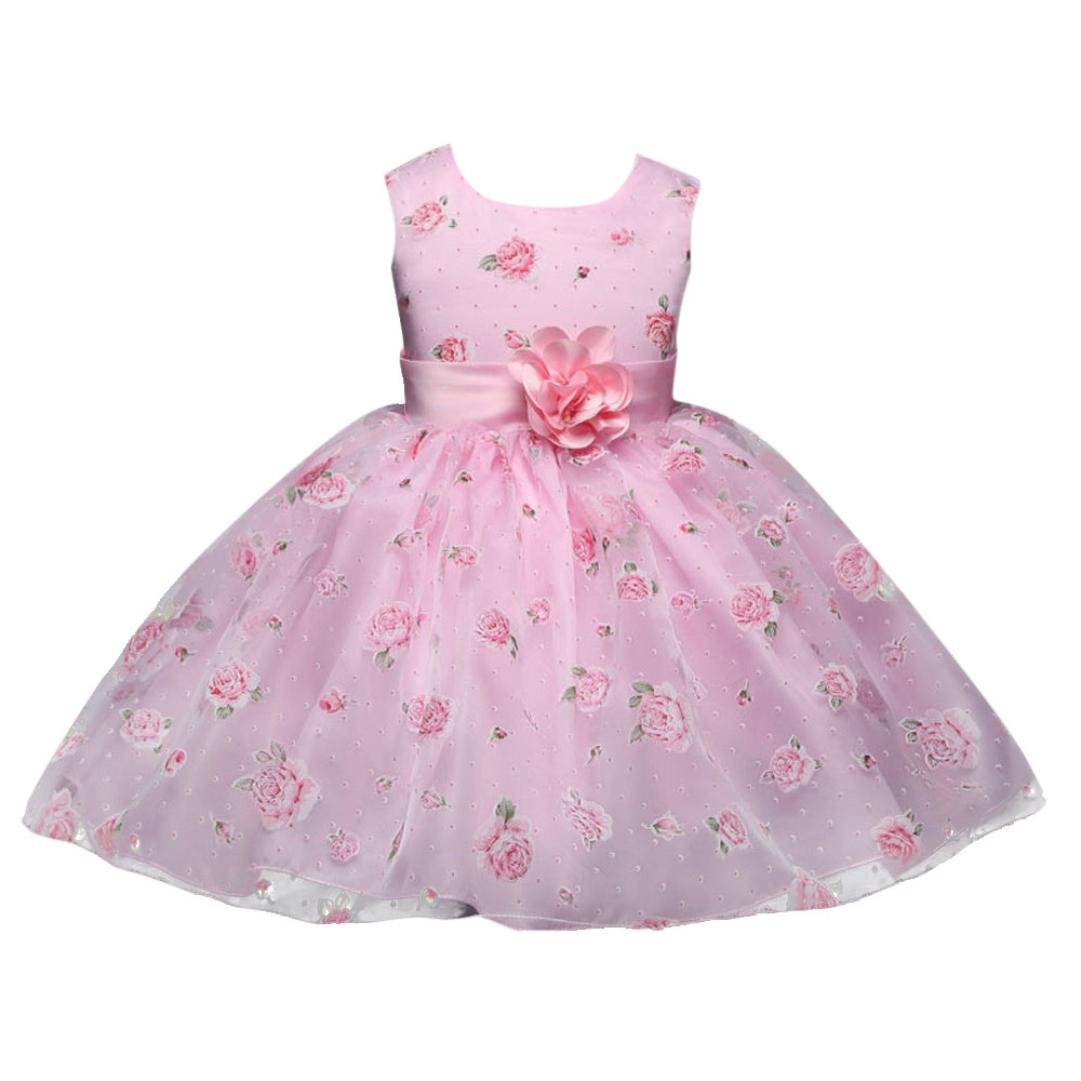 YANG-YI HOT, Fashion Flowers Kids Girl Sleeveless Dress Princess Formal Pageant Gown Party Bridesmaid Dress (Pink, 125-130cm/6T)