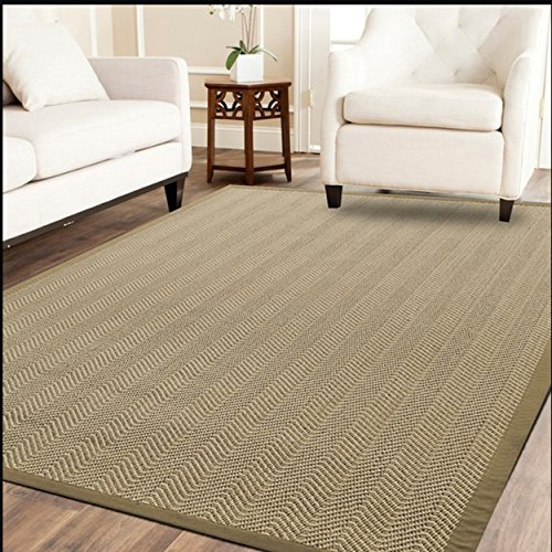 A1 Home Collections A1NFR011-B A1HC Natural Fiber Area Non-Skid Latex Backing | Sisal Entryway, Dining or Living Room Herringbone Rug | Various Sizes | Beige-5'x8'