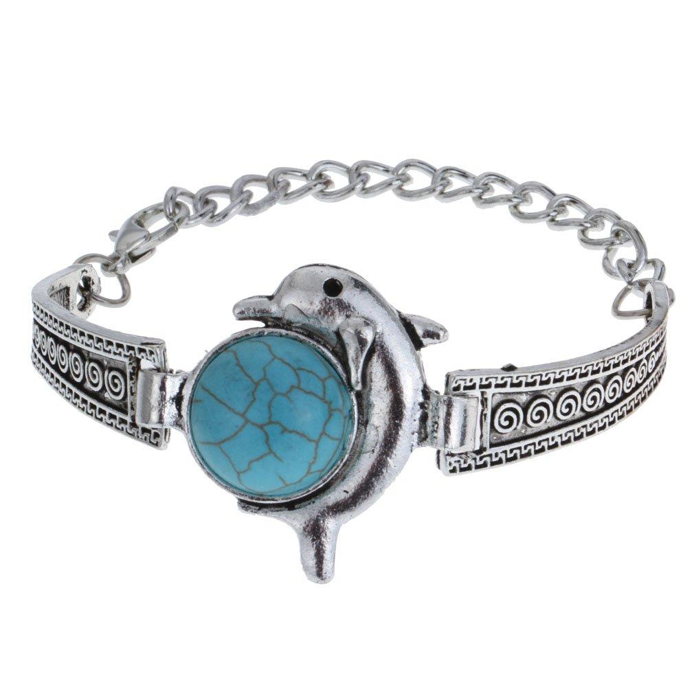 YAZILIND Women Bohemian Retro Vintage Tibet Silver Turquoise Dolphin Charm Bracelet Boho Jewelry YAZILIND JEWELRY LIMITED 1062B0094