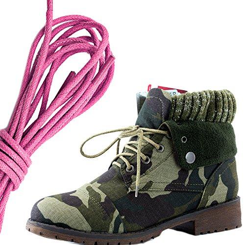 Dailyshoes Womens Style De Combat Lacet Pull Haut Bottine Cheville Avec Poche Pour Carte De Crédit Couteau Argent Poche Portefeuille Bottes, Rose Camouflage Cv