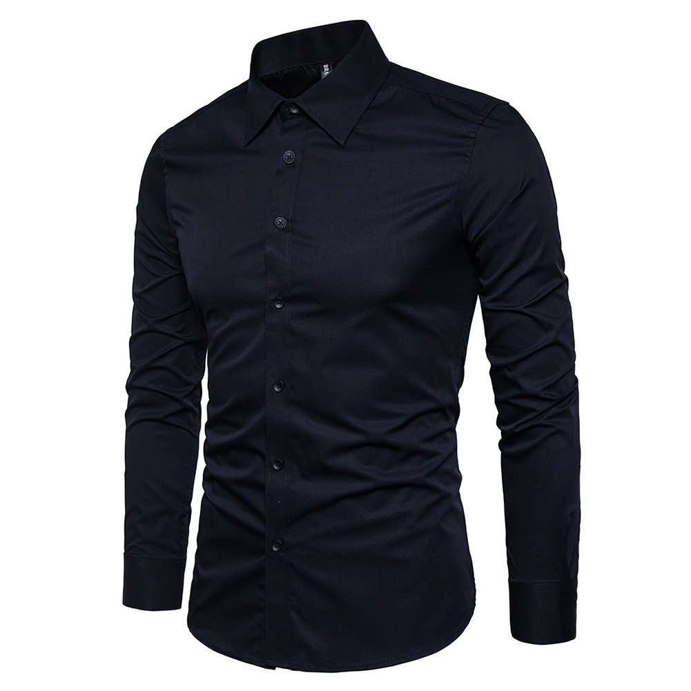 a8b9bbdb0c8f Manwan walk men slim fit business casual cotton long sleeves solid button  down dress shirts at
