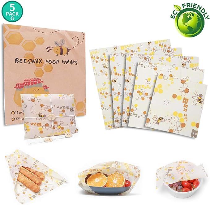 SUXXUB Juego de 5 Envolturas de Cera de Abeja Beeswax Wrap, Bocadillo Envolturas Reutilizable Envoltorios de Queso y sándwich sin residuos Ecológico, Sostenible, Biodegradable, Eco Friendly: Amazon.es: Hogar