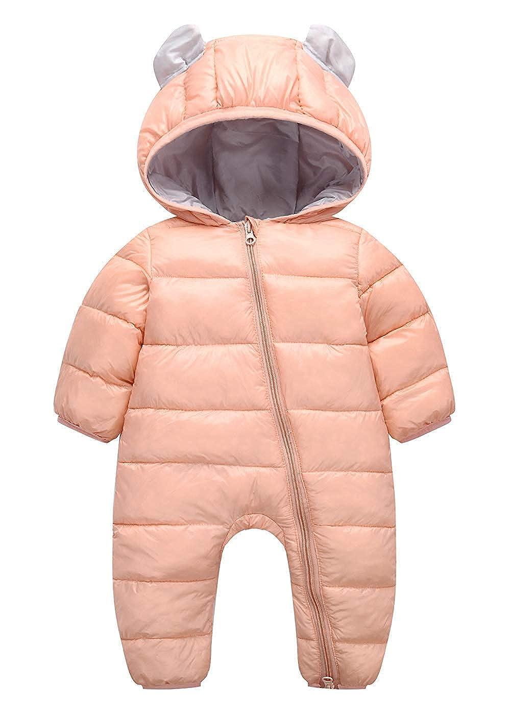 Merryway 3-24 Months Baby Adorable Hoodie Jumpsuit Snow Suit Winter Zip Up Long Sleeve One-Piece Coat MW057
