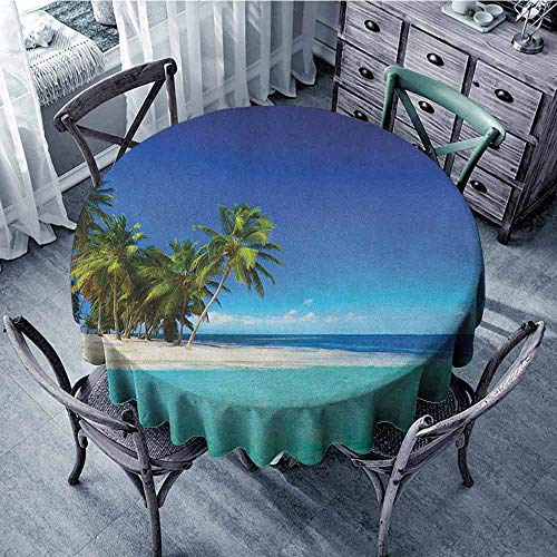 (ScottDecor Reusable Round Tablecloth Dinning Tabletop Decoration Ocean,Seaside View Tropical Island Coast Jungle Nature Landscape Picture, Royal Blue Turquoise Green Diameter 70