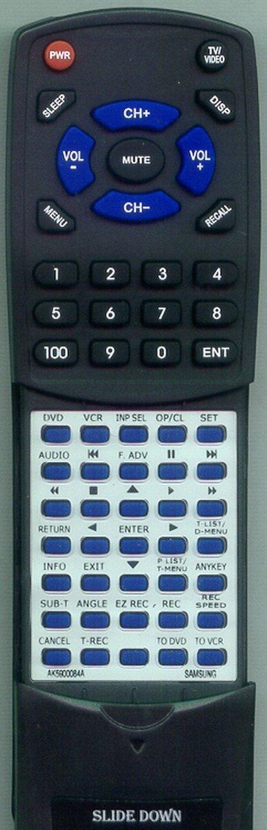 Replacement Remote Control for Samsung 00084A DVDVR375 DVDVR375A AK5900084A