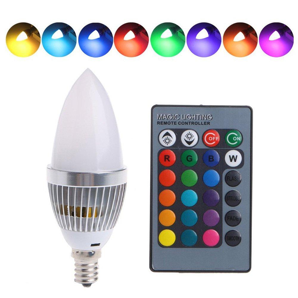 RGB LED 3 W wechselbar Symbat LED-Lampe mit Fernbedienung f/ür Zuhause