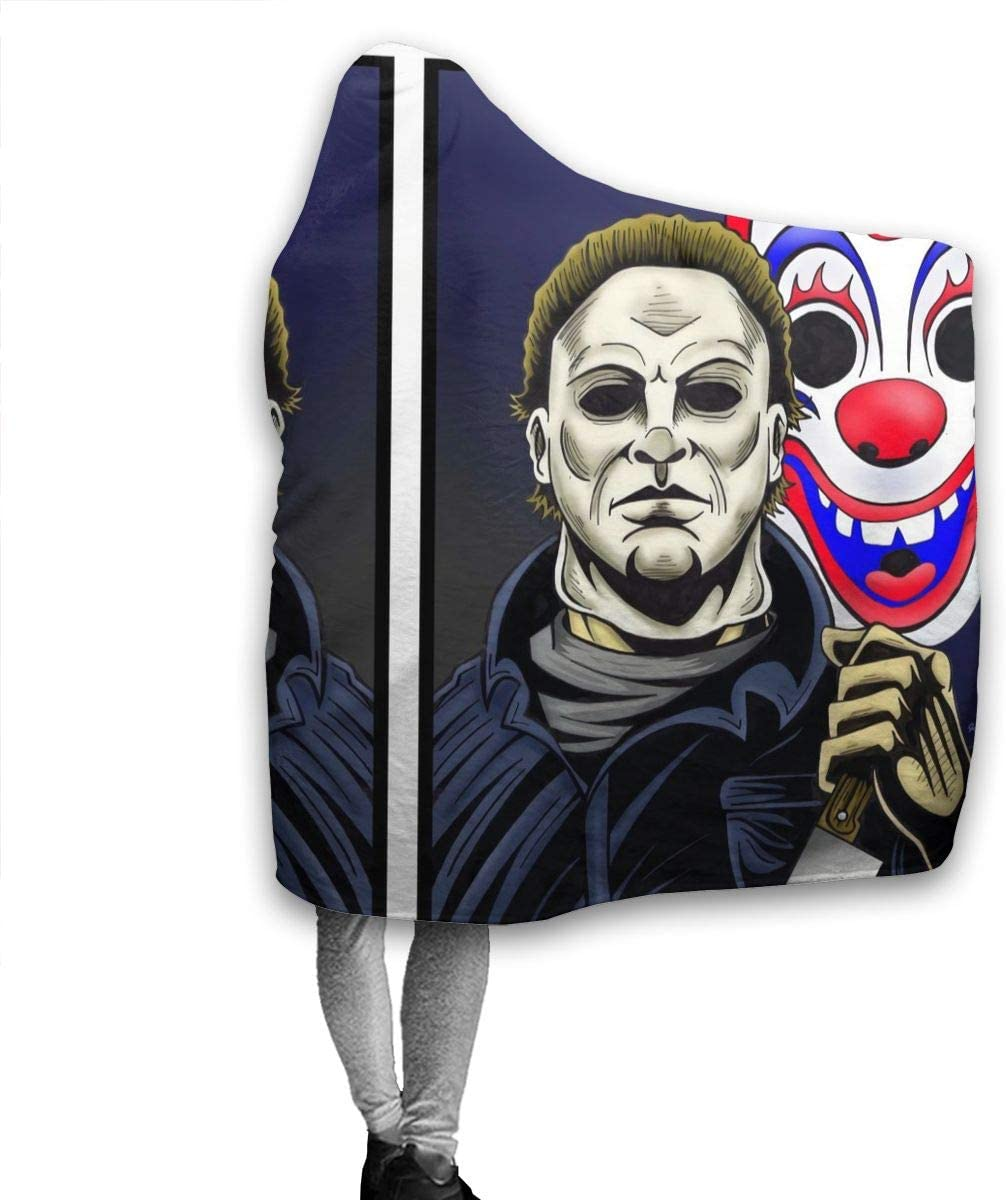9 Mangomm Michael Myers Halloween Throw Blanket Wearable Home Fleece Warm for Kid Baby Adults Or Pet Lightweight Soft Cozy Warm Home Decoration 80 X 60 Inch for Adult
