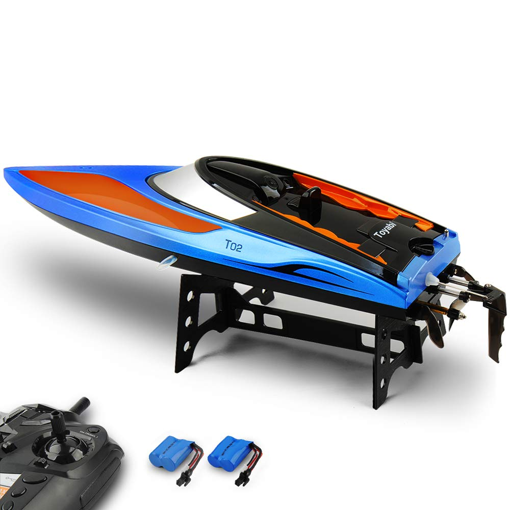 RC Boat, Remote Control Boat 2.4GHz High Speed Electric Racing Boat Pool Toys Kids Adults,Capsize Recovery Fast Remote Boat Pool Lake River Outdoor Adventure,Extra Batteries Included