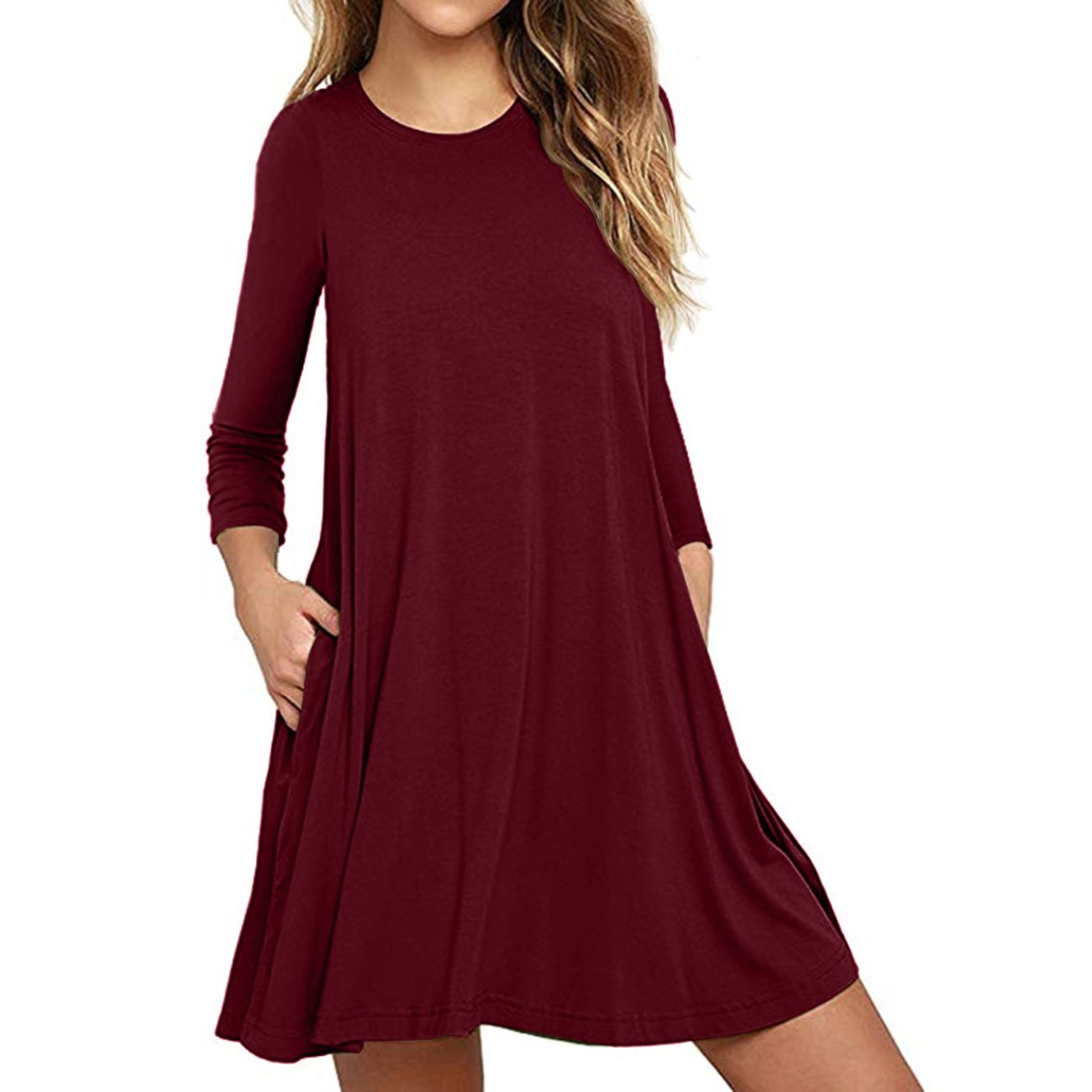 Cnokzol Women Long Sleeve Pleated T-Shirt Dress with Pockets Casual Loose Tunic Dress