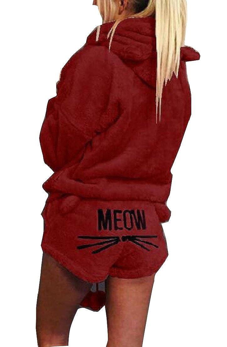 Generic Womens Pajamas Fleece Suit Cute Meow Long Sleeve Hood Sleepwear Set Shorts