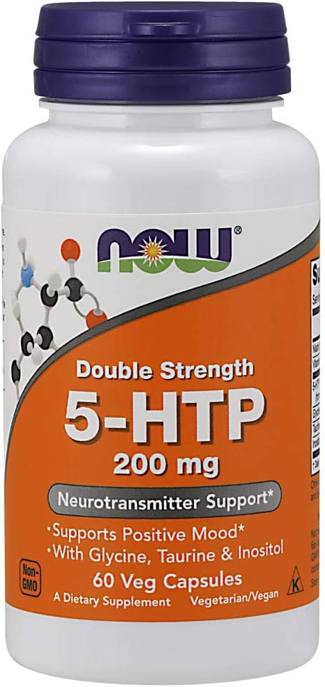 NOW Supplements, 5-HTP, Double Strength 200 mg, 60 Veg Capsules