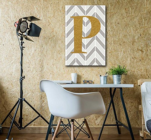 The Letter P in Gold Leaf Effect on Geometric Background Hip Young Art Decor