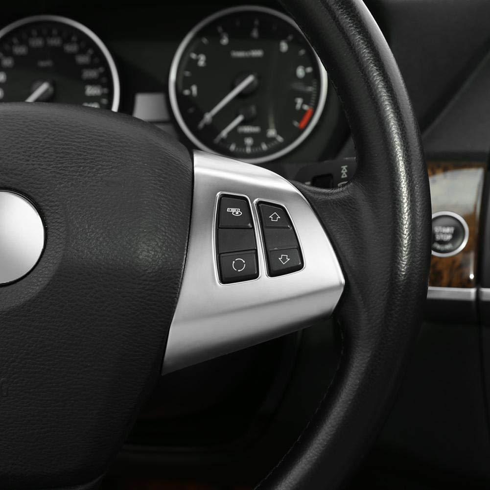 Keenso 2Stk Lenkrad Tastenleiste Chrom Lenkrad Taste Rahmen Dekoration Abdeckung Trim f/ür X5 E70 2008-2013