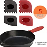 5-IN-1 Set, Medium-sized Silicone Hot Handle Holder + Durable Grill Pan Scrapers(2PCS) + Durable Pan Scrapers (2PCS) for Lodge Cast Iron Skillets