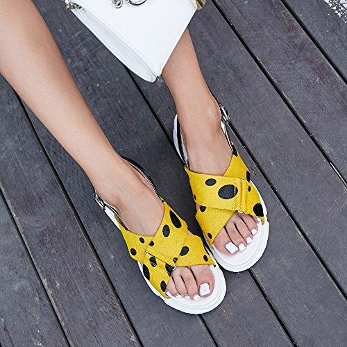 KJJDE Sandalias Yellow Correa Cruzado Mujer De De Cuña Transpirable Y Punto De L2014 Verano Diseño WSXY La Onda Chanclas De Del Moda Sandalias rSr58qZwB