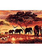 Wowdecor Paint by Numbers Canvas Kits for Adults Beginner Kids, DIY Acrylic Number Painting - Forest Sunset Elephants Crane Animals 16x20 inch - Wall Art Digital Oil Painting Home Decor Christmas Gifts (Framed)