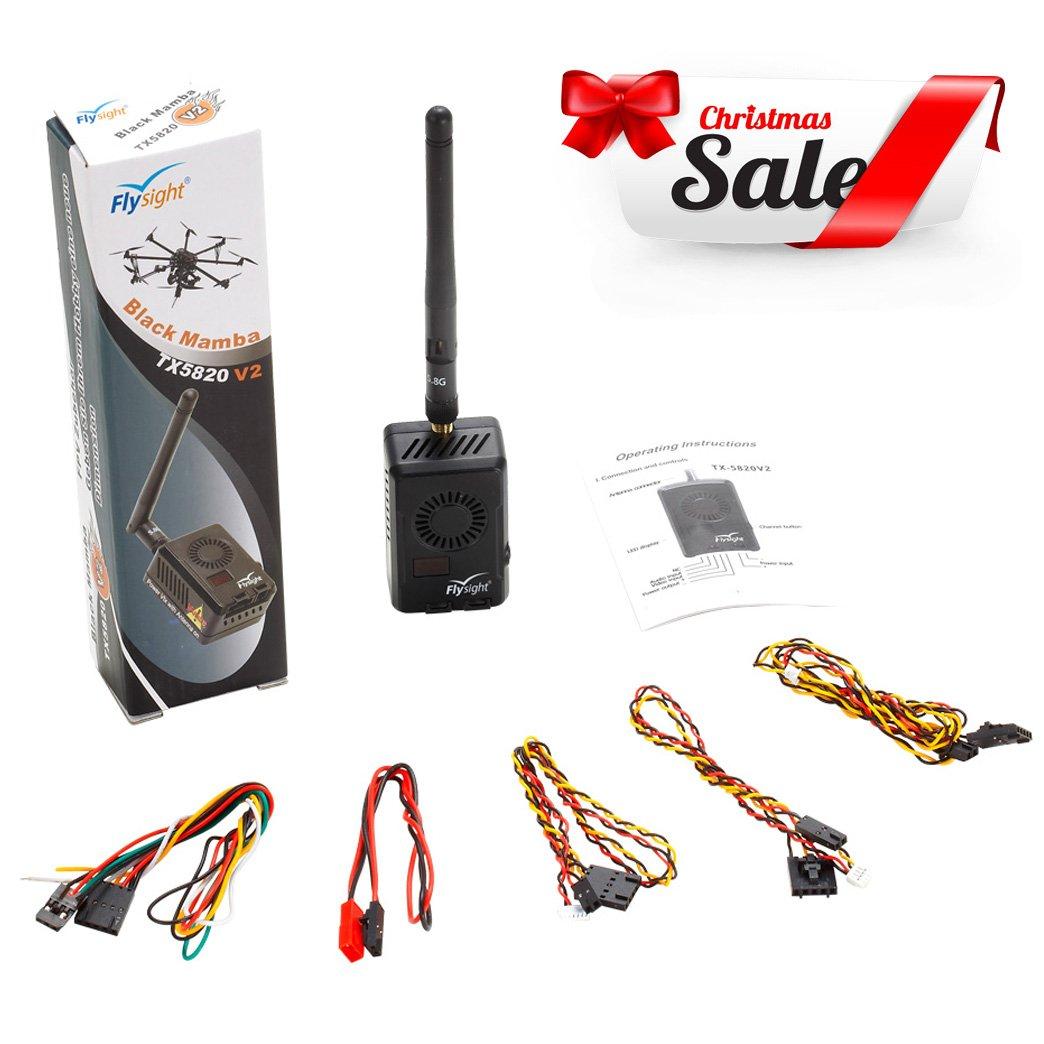 Flysight Black Mamba TX5820 V2 FPV VTX 5.8GHz Video Transmitter (6V-28V) 40CH 2000mW FPV Transmitter for Long-distance Transmission 8km to 9km (TX5820 V2-SMA)