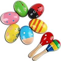 6 Piezas maracas de huevo and 2 Piezas martillo de arena de madera, divertido juguetes musicales de percusión maracas y…