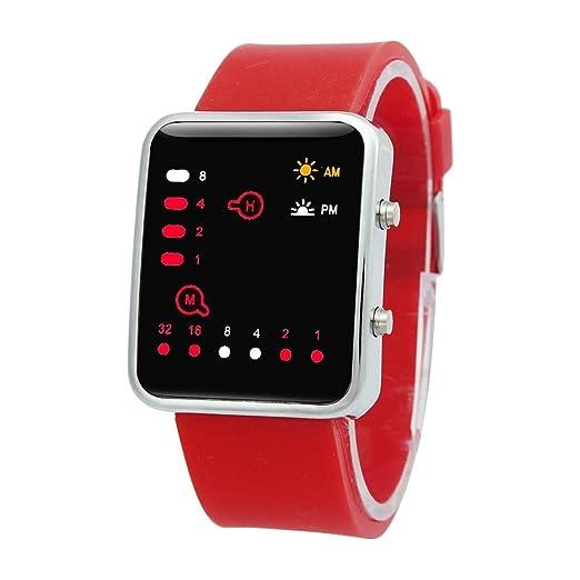 Reloj - SODIAL(R)Unisex De mujer Reloj Hombre Silicona Digital Rojo LED Deportivo Binario pulsera Color Del Articulo:Rojo: Amazon.es: Relojes