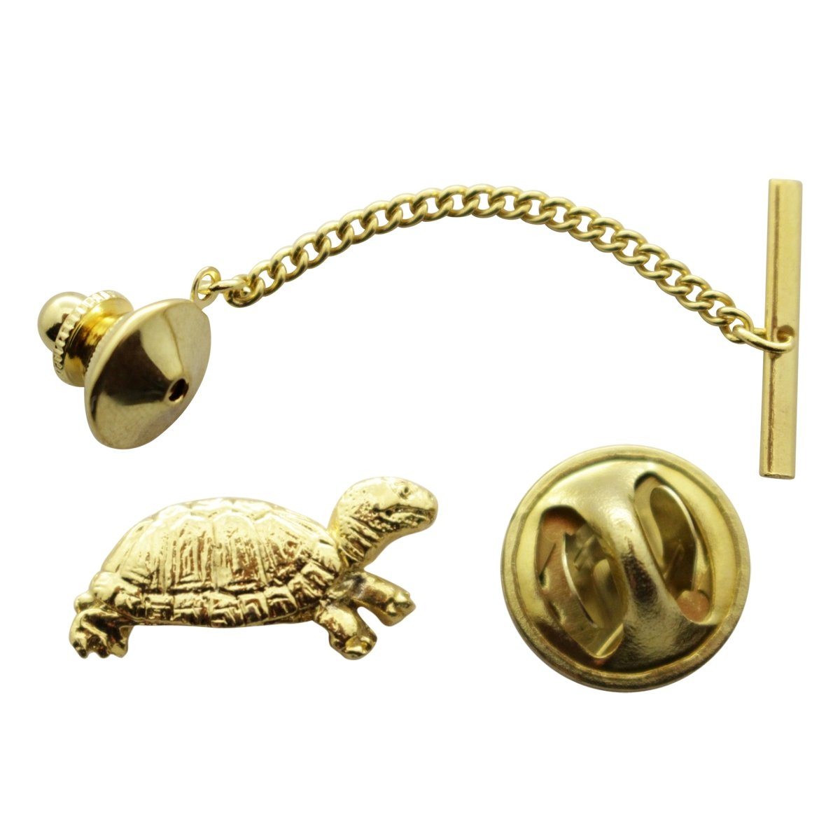 Box Turtle Tie Tack ~ 24K Gold ~ Tie Tack or Pin ~ Sarah's Treats & Treasures G.G. Harris STT-M608-G-TT