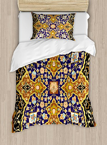 Ambesonne Arabian Duvet Cover Set Twin Size, Arabic Floral Mosaic Patterns South Eastern Antique Oriental Ottoman Artwork Print, Decorative 2 Piece Bedding Set with 1 Pillow Sham, Multicolor by Ambesonne
