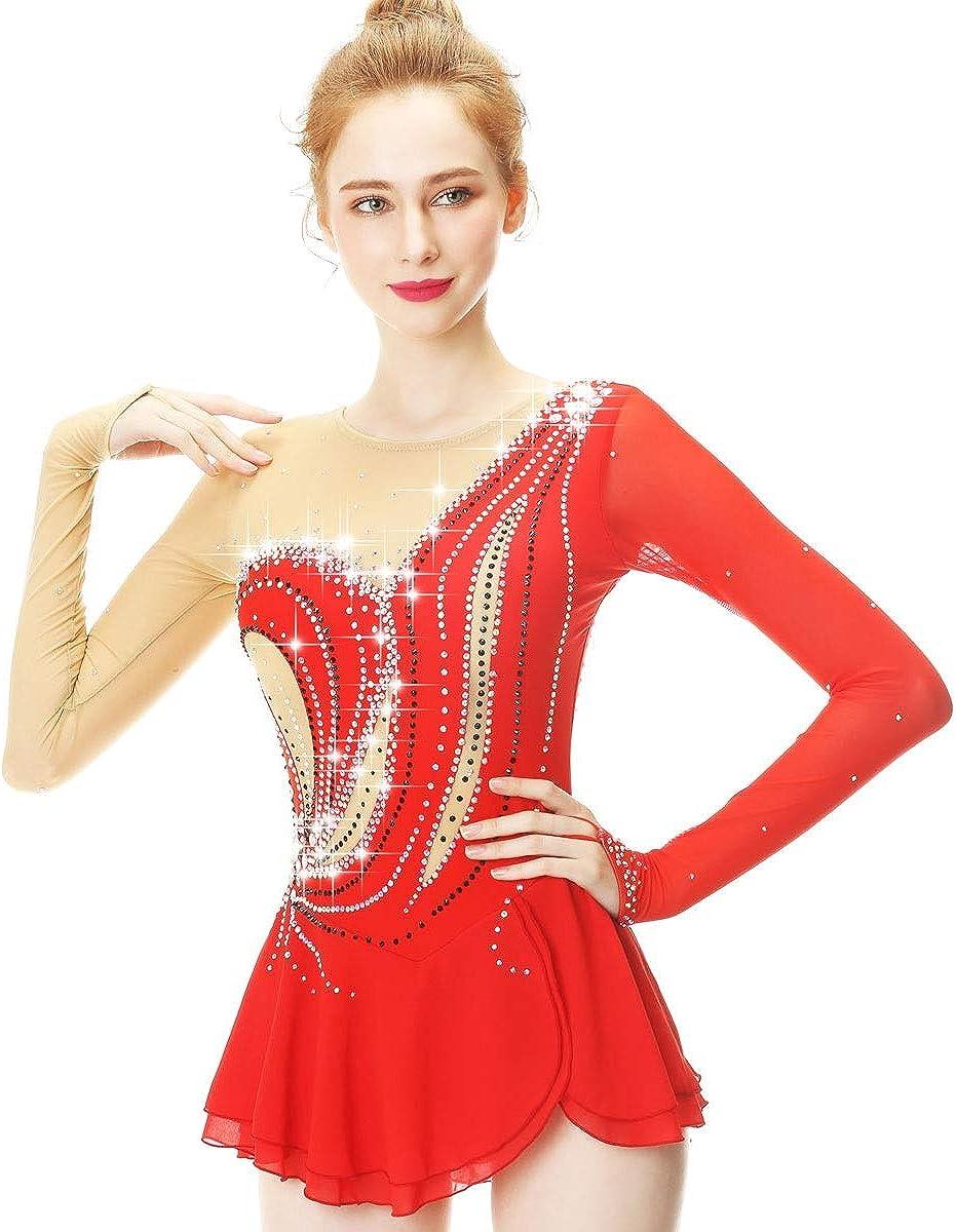 フィギュアスケートドレス女性女の子のアイススケートダンスパフォーマンス競争ハイエンド衣装ストレッチラインストーンスケートウェア長袖 レッド M