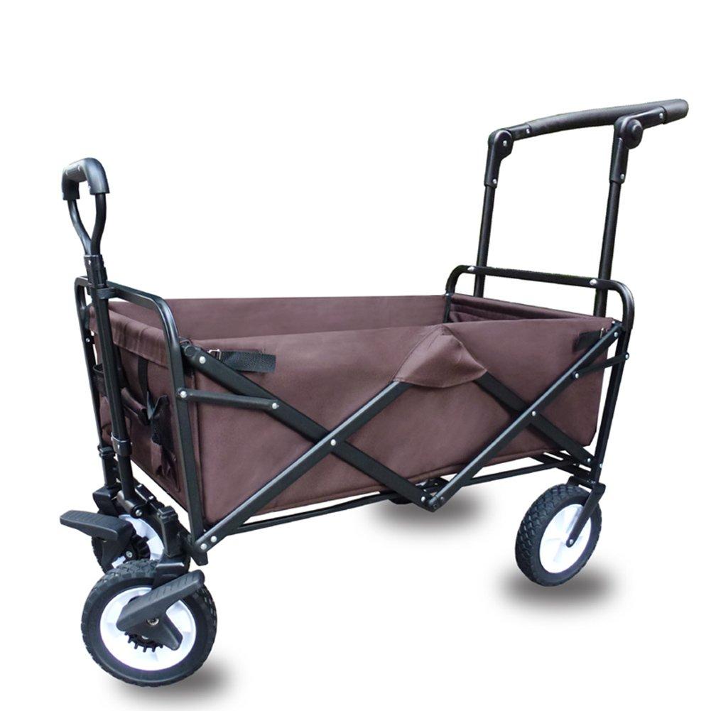 キャリーカートアウトドアワゴン折りたたみができる 押す ブレーキをかける 車皮 重荷を負う 一輪車 鉄棒 オックスフォード布 野外キャンプ 5色 (色 : Brown, サイズ さいず : 100x50x80cm) B07FY5W9SB 100x50x80cm|Brown Brown 100x50x80cm