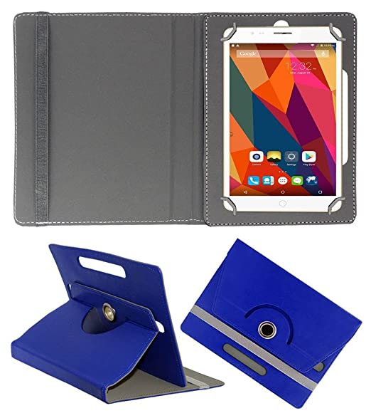 Acm Rotating Leather Flip Case Compatible with Swipe Ace Strike 4g Cover Stand Dark Blue Bags,Cases   Sleeves