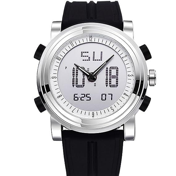 Reloj digital para estudiantes, reloj deportivo led con pantalla dual y correa de silicona negra: Amazon.es: Relojes