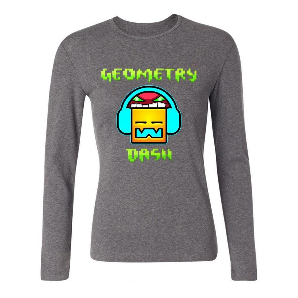 IIOPLO Women's Geometry Dash Game Long Sleeve T-shirt