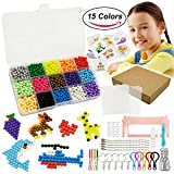 Namii W 2,200 Fuse Beads - 15 Colors Box Water Glued Beads, Tweezers, Scraper, Bead Boards, Spray Bottle, Graphic Jam, Key Chains, Case - Pony Beads DIY Jigsaw Art Case - Works with Perler Beads