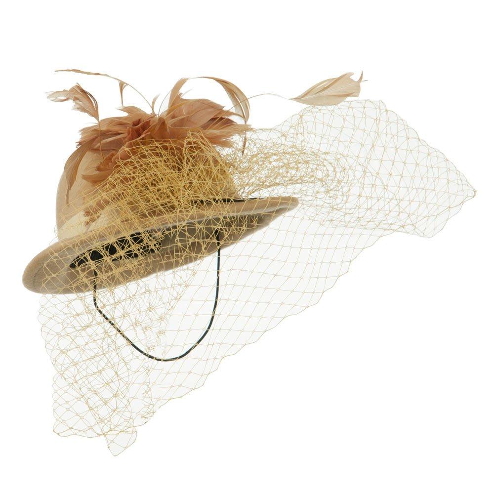 Camel SS//Hat Mini Wool Bowler Fascinator