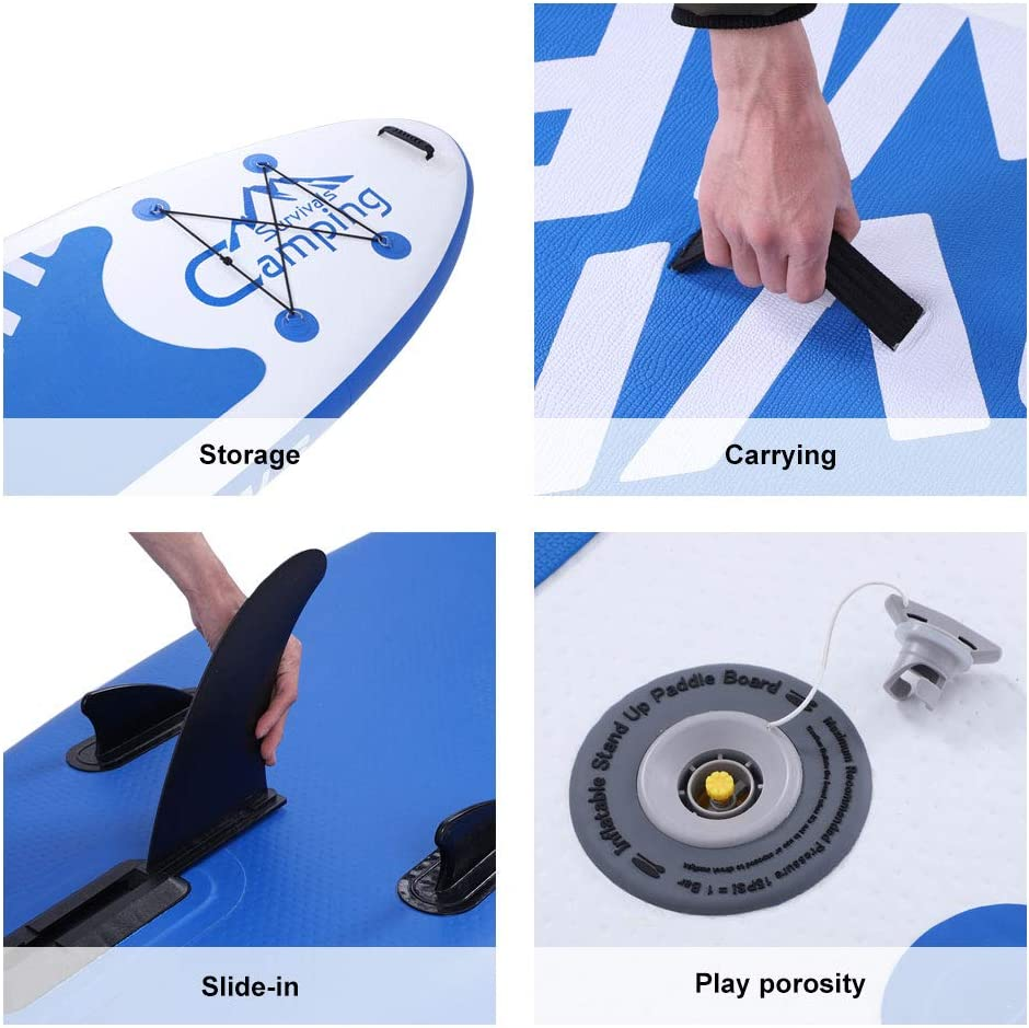 Tinffy All-Around Inflatable Stand Up Paddle Board KS-SP1007 1010 Adult Inflatable SUP All Round Board White /& Dark Blue /& Black