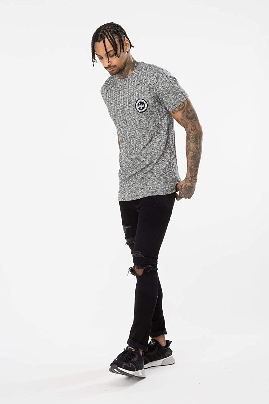 Hype Grey Rib Crest Mens T-Shirt