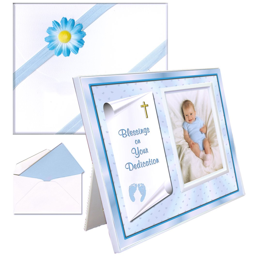 Dedication Gift for Boy Picture Frame | Affordable, Colorful | Holds a 3.5 x 5 Photo | Innovative Front-Load Design | Blue Blessings Theme