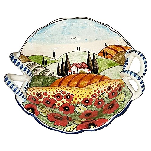 CERAMICHE D'ARTE PARRINI - Italian Ceramic Art Pottery Serving Bowl Small Centerpieces Hand Painted Decorative Landscape Poppies Tuscan Made in ITALY