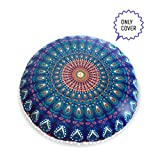 Mandala Life ART Bohemian Decor Meditation Floor Cushion Cover - 30 inches - Round Floor Pillow Pouf Cover - Colorful Blue 100% Hand Printed Organic Cotton by