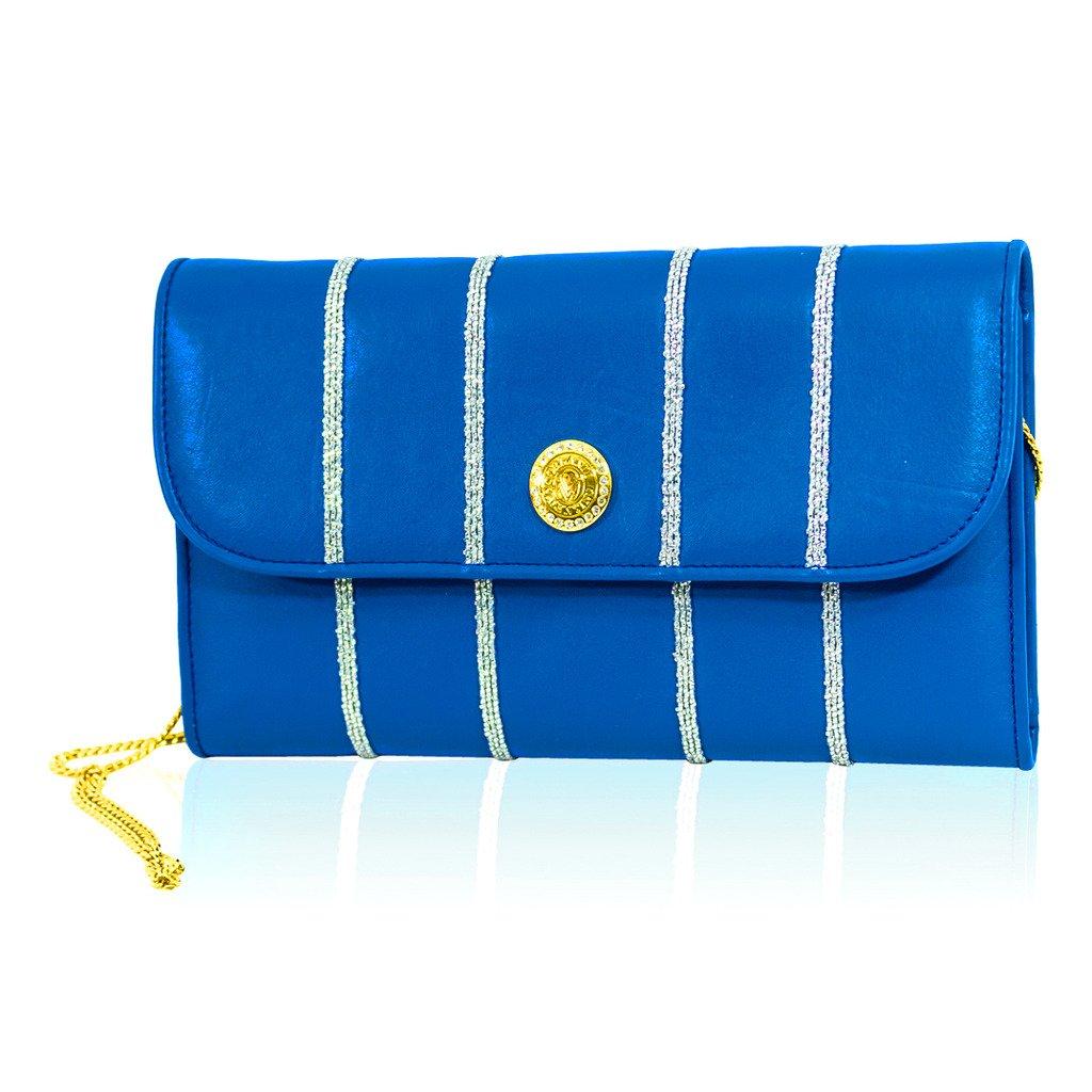 Valentino Orlandi Italian Designer Maldives Blue Leather Large Wallet Clutch