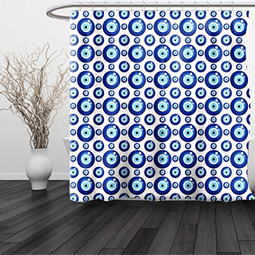 HAIXIA Shower Curtain Evil Eye Symmetrical Pattern All Seeing Eye Figures Superstitious Turkish Ethnic Blue Pale Blue White