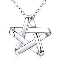 "AOVEAO Pentagram Necklaces, S925 Sterling Silver Pentacle Star Pendant Necklace 18"" Chain for Women and Men (Nickel Free…"