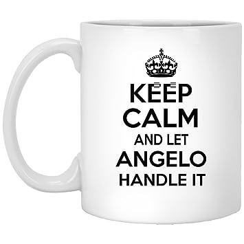 amazon com personalized tea mug for angelo keep calm and let