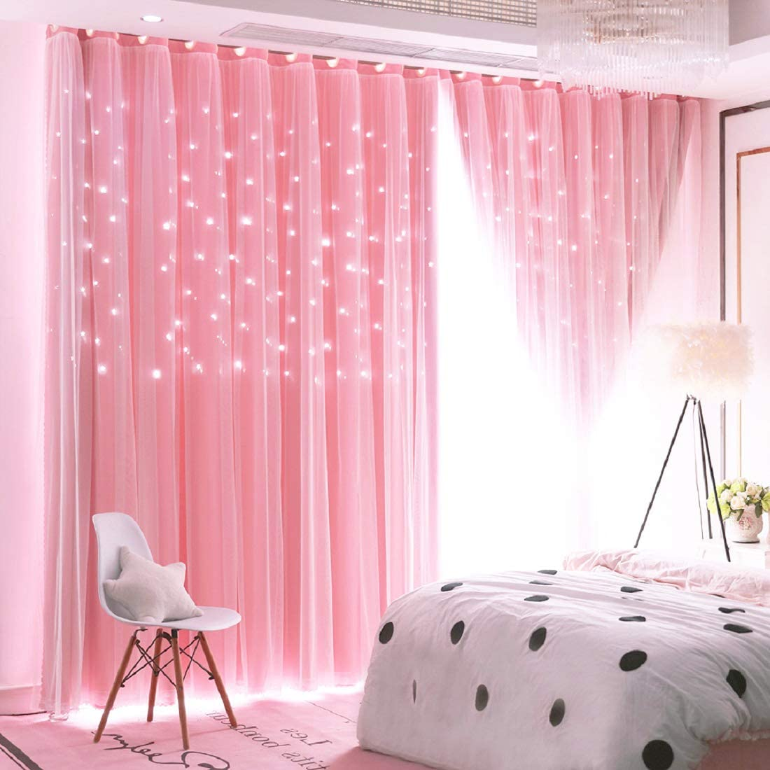 UNISTAR 2 Panels Stars Blackout Curtains for Bedroom Girls Kids Baby Window Curtain Double Layer Star Cut Out Aesthetic Living Room Decor Wall Home Decorations Curtain,W52 x L84 Inches,Pink