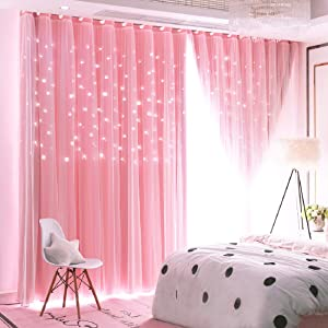 UNISTAR 2 Panels Stars Blackout Curtains for Bedroom Girls Kids Baby Window Curtain Double Layer Star Cut Out Aesthetic Living Room Decor Wall Home Decorations Curtain,W52 x L108 Inches,Pink