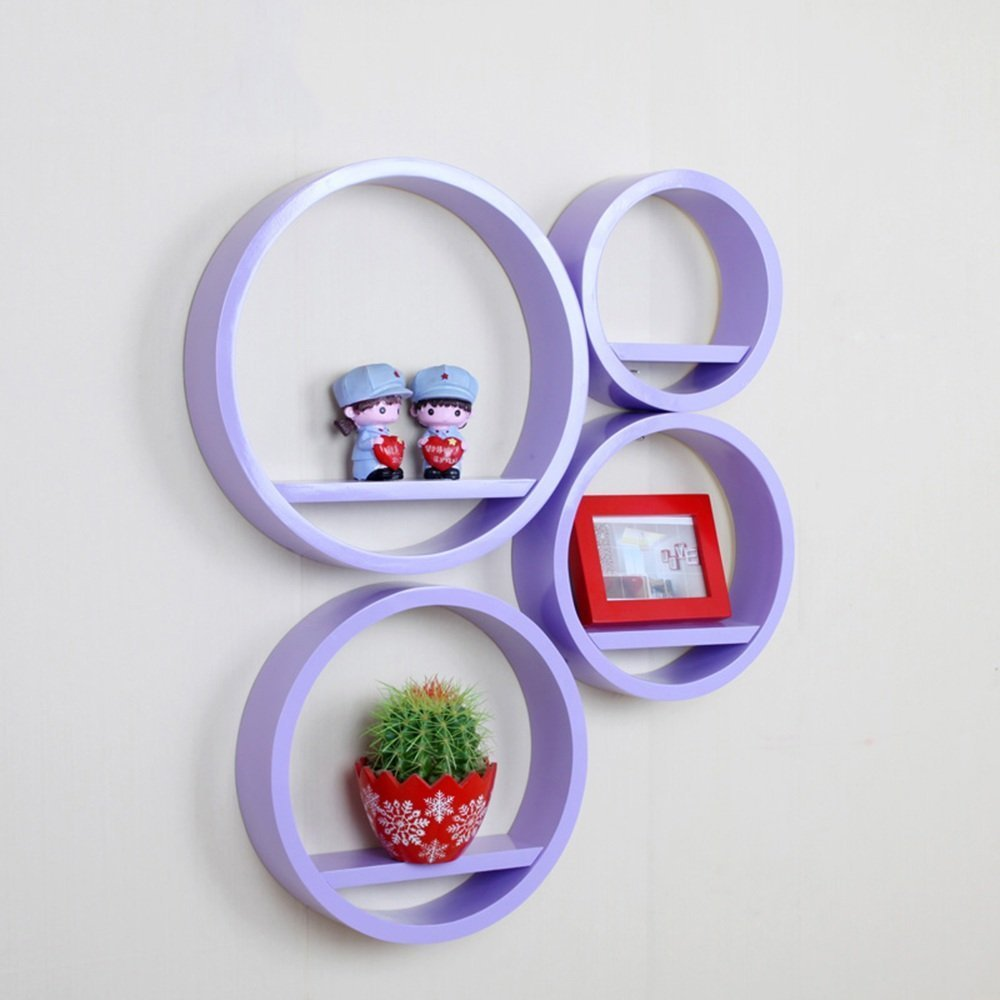 HOMEE round Creative Lattice Decoration Shelf Paint Tv Background Wall Shelves Wall Racks Wall Hanging Wall Decoration (Multiple Styles Available),R