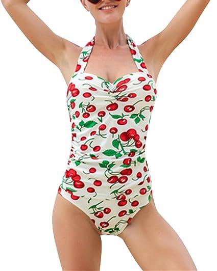 Mujer Vintage 50s Pin Up Halter Traje de Baño de Una Pieza ...